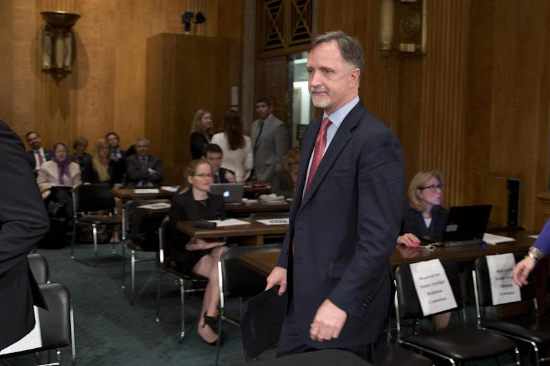 Robert Stephen Beecroft arrives for a Senate Foreign Relations committee hearing on his nomination to be ambassador to Iraq on Capitol Hill on Wednesday, Sept. 19, 2012 in Washington. (AP Photo/ Evan Vucci)