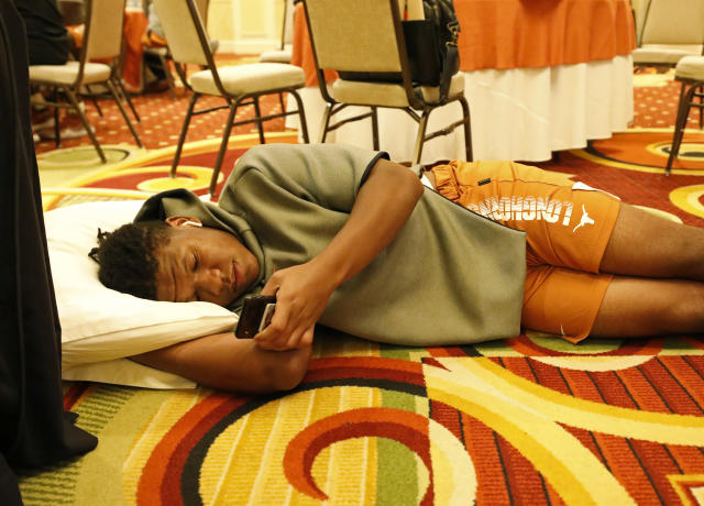 Texas Longhorns' Juwan Mitchell relaxes Friday Sept. 6, 2019 at the team hotel in Austin, Tx. ( Photo by Edward A. Ornelas )