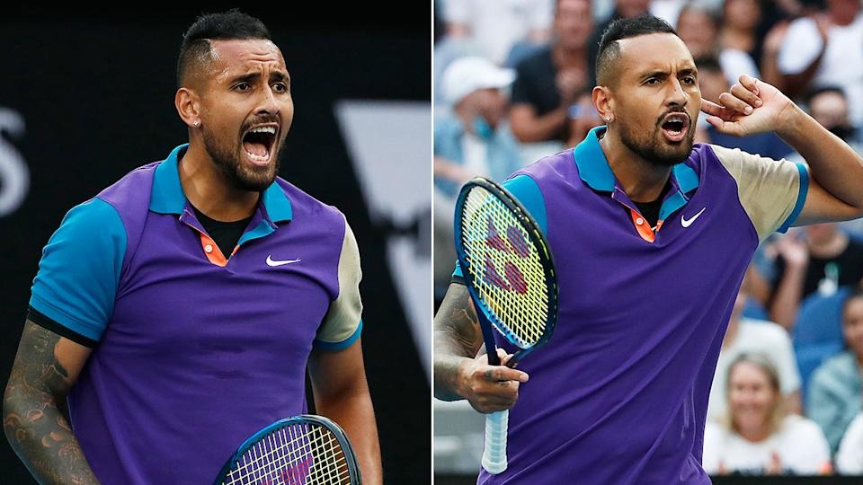 Pictured here, Nick Kyrgios rallies the crowd in his match against Dominic Thiem.