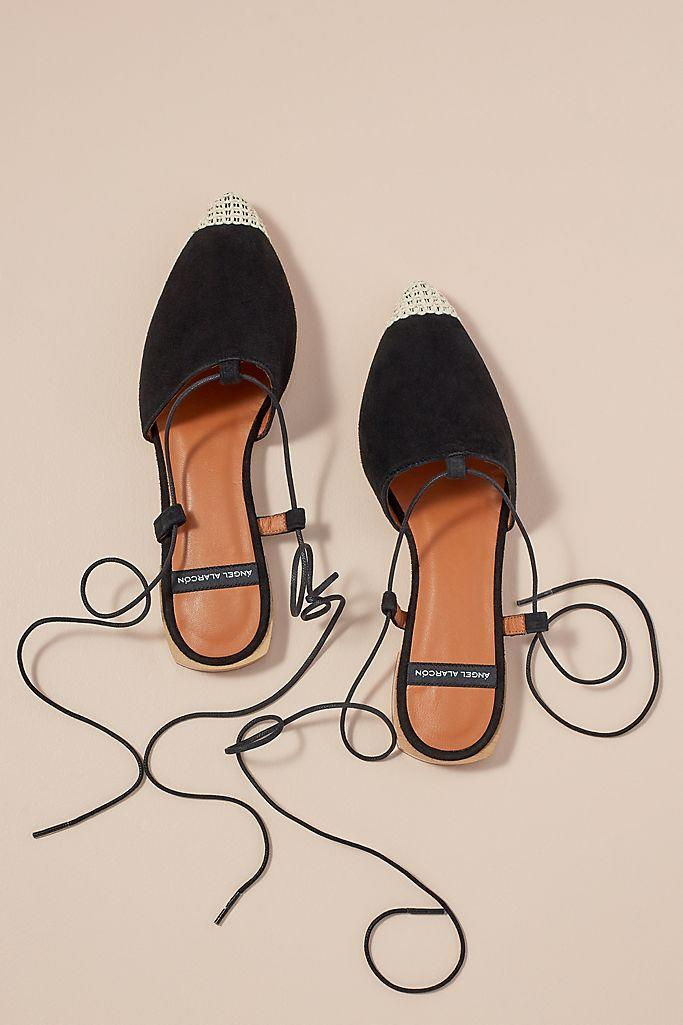 Kat Tie-Up Lace Flats (Anthropologie)