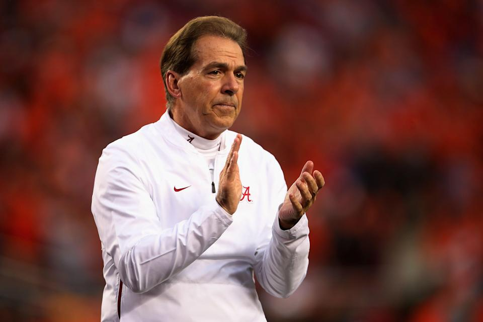SANTA CLARA, CA - JANUARY 07:  Head coach Nick Saban of the Alabama Crimson Tide looks on during warm ups prior to the CFP National Championship against the Clemson Tigers presented by AT&T at Levi's Stadium on January 7, 2019 in Santa Clara, California.  (Photo by Christian Petersen/Getty Images)