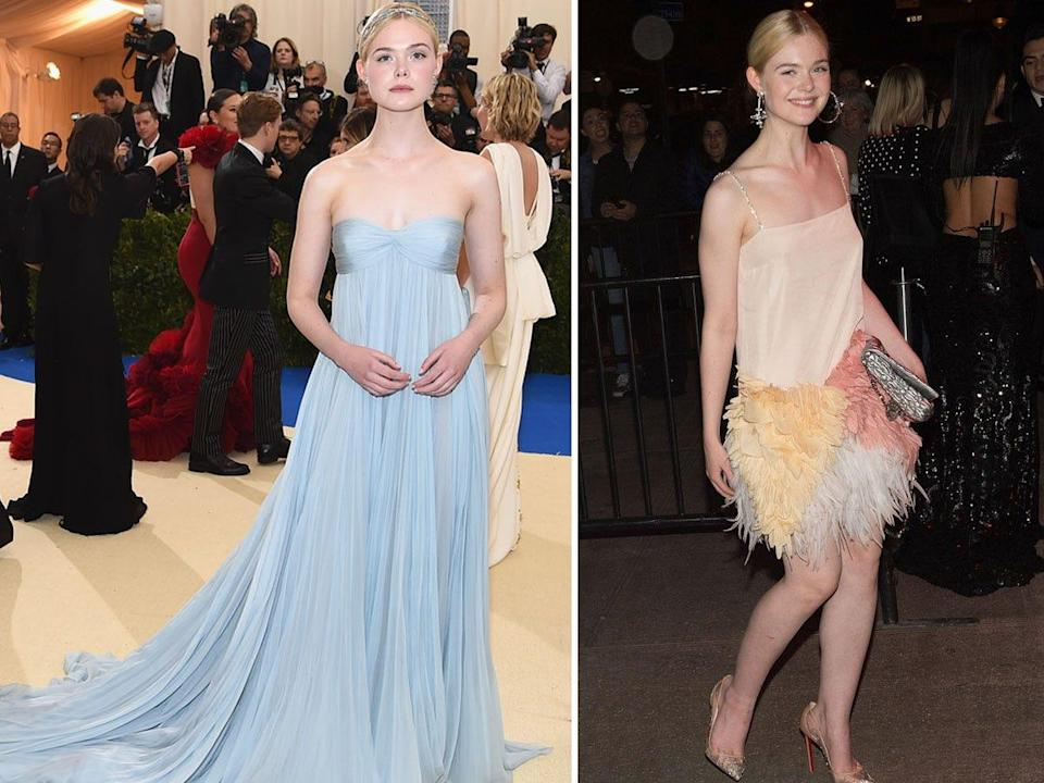 Elle Fanning at the 2017 Met Gala and at an after-party.