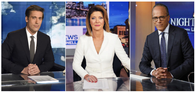 "This combination photo shows network news anchors, from left,  David Muir on the set of ""World News Tonight with David Muir"" on ABC,  Norah O'Donnell, host of the new ""CBS Evening News with Norah O'Donnell,"" and Lester Holt of ""NBC Nightly News with Lester Holt"" and ""Dateline"" anchor Lester Holt. Twenty years ago the network evening news was considered on the brink of extinction. But more than 32 million people tuned into these broadcasts, along with the ""CBS Evening News with Norah O'Donnell,"" each night for a rundown of the day's coronavirus developments. (ABC, from left, CBS via AP, and AP Photo)"