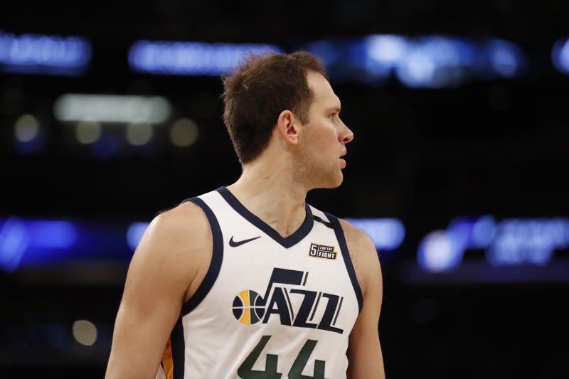 The Utah Jazz lost starting forward Bojan Bogdanovic to surgery during the shutdown. (Michael Owens/Getty Images)