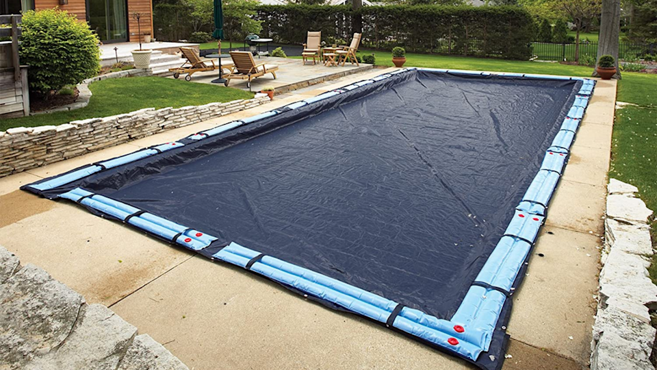 The Blue Wave in-ground pool cover has 5 feet of overlap in dimensions so that it will stay secure without faltering.