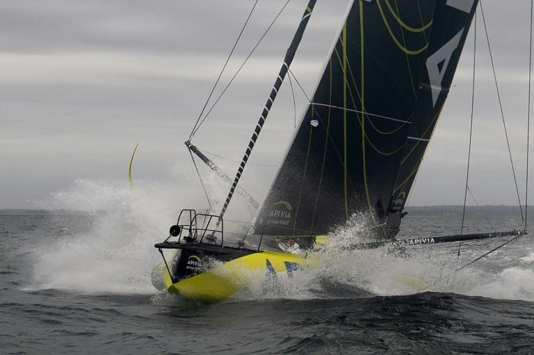 French skipper Charlie Dalin putting his boat Apivia through her paces ahead of the Vendee Globe