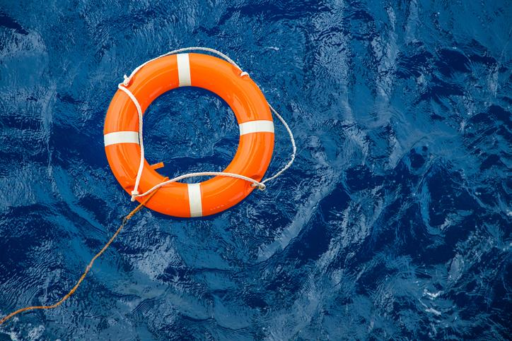 A life raft in the ocean.