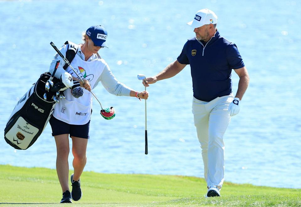 Storey leaves working out the yardages to Westwood but her support comes in other ways - Sam Greenwood/Getty Images