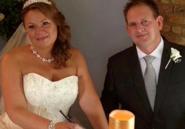 Laura and Kevin Tanner, from Basildon, Essex, on their wedding day. (SWNS)