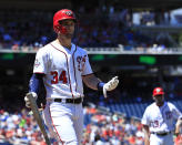 Washington Nationals Bryce Harper (34) gestures after being called out by the home plate umpire during the first inning of a baseball game against the Miami Marlins in Washington, Sunday, July 8, 2018. (AP Photo/Manuel Balce Ceneta)