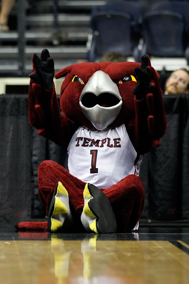 NASHVILLE, TN - MARCH 16: The Temple Owls mascot performs against the South Florida Bulls during the second round of the 2012 NCAA Men's Basketball Tournament at Bridgestone Arena on March 16, 2012 in Nashville, Tennessee. (Photo by Kevin C. Cox/Getty Images)