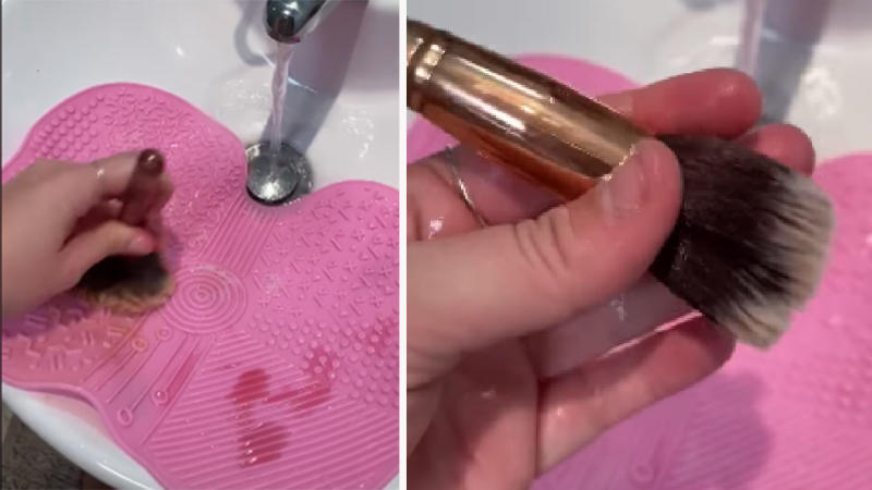 Video stills of makeup brush cleaning from Kmart