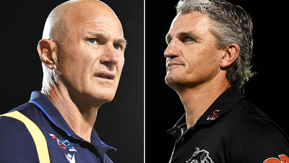 Parramatta coach Brad Arthur and Penrith counterpart Ivan Cleary were at odds over the treatment from the referee after the Panthers' thrilling NRL semi-final win. Pictures: Getty Images