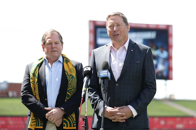 Former Wallaby Phil Kearns speaks to the media during The Rugby Championship 2021 Fixture announcement at McDonald Jones Stadium on September 24, 2020 in Newcastle, Australia.