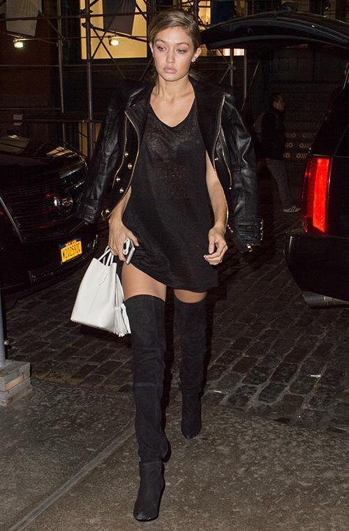 1. Thigh-high boots<br> As the most searched item on Australian Polyvore, thigh-high boots are a major fashion trend this winter. Loved by celebrity fans including Gigi Hadid, Kendall Jenner and Rosie Huntington-Whiteley, what's not to want with the chic boots? Pictured: Gigi Hadid.