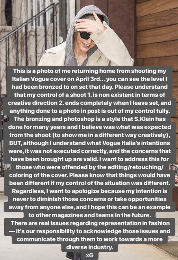 Gigi Hadid's apology for her cover controversy. (Photo: Gigi Hadid via Instagram Stories)