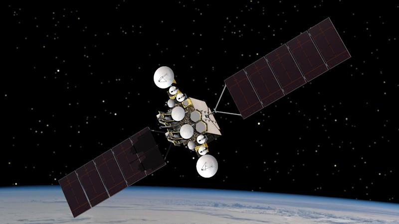 This artist rendering provided by the U.S. Air Force, shows  the AEHF-1 satellite in orbit above the earth.  Air Force ground controllers executed a delicate rescue to save the $1.7 billion military communications satellite that was stranded in the wrong orbit and at risk of blowing up _ all possibly because a piece of cloth had been left in a critical fuel line during manufacture. (AP Photo/U.S. Air Force)
