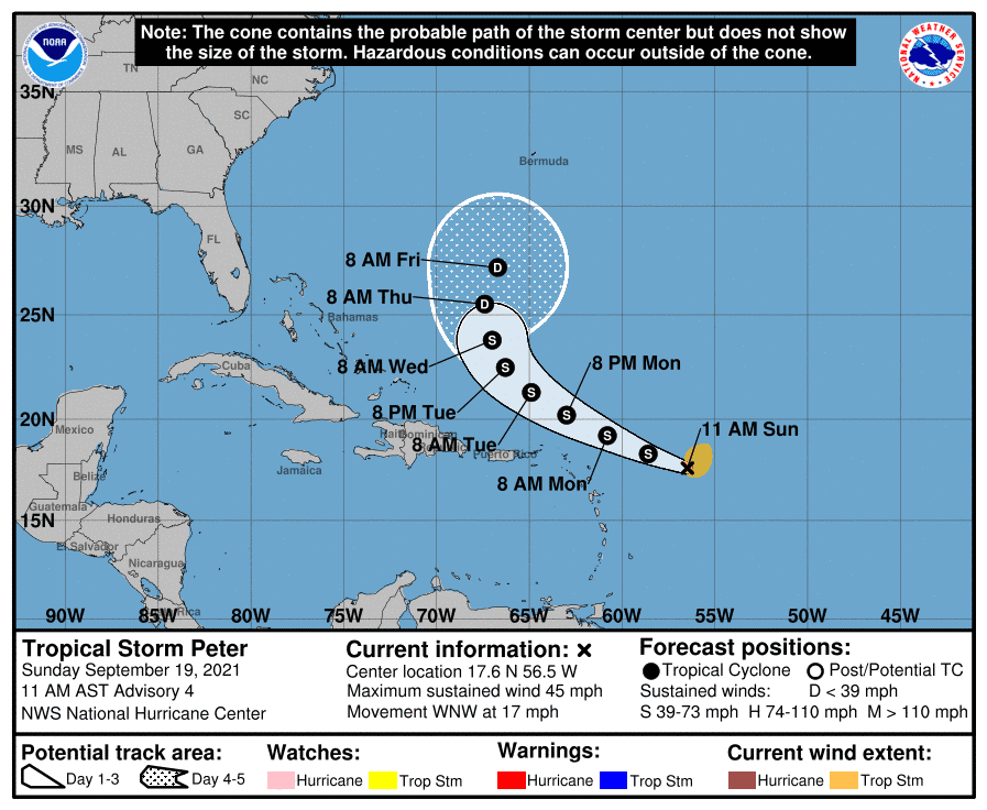 Map of probable path of Tropical Storm Peter.