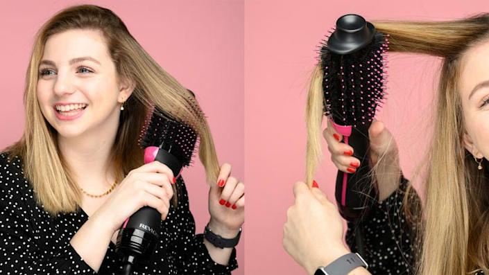Get your hands and hair on the Revlon One-Step Hair Dryer and Volumizer.