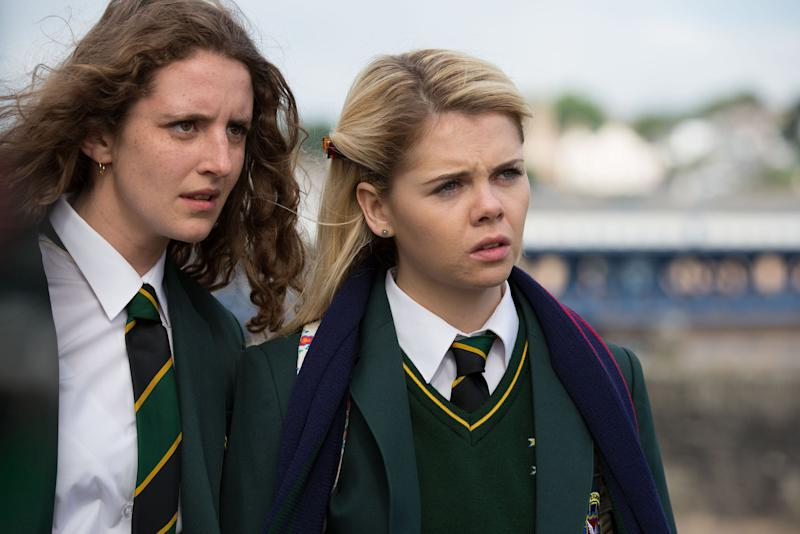 DERRY GIRLS, (from left): Louisa Harland, Saoirse Jackson, (Season 1, ep. 101, aired in UK on Jan. 4, 2018). photo: Jack Barnes / Channel 4 / Courtesy: Everett Collection