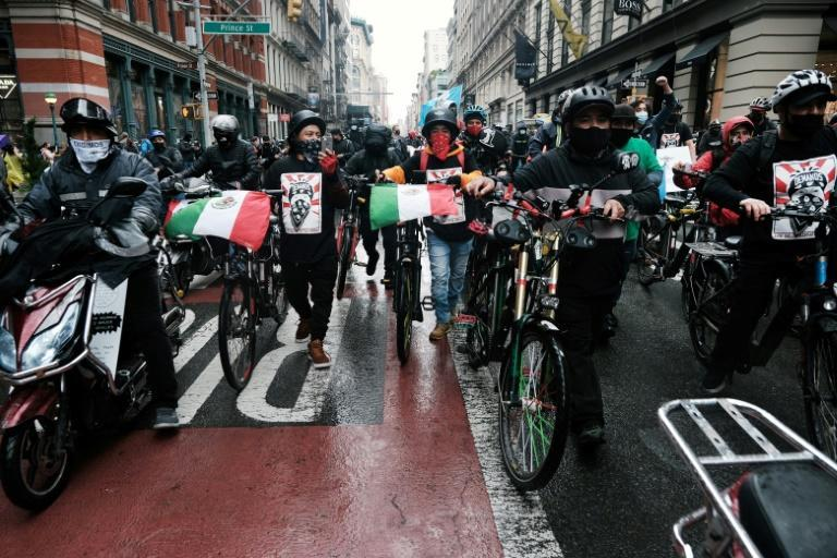 Hundreds of food delivery workers protested in New York in April 21, 2021 to demand workers' rights