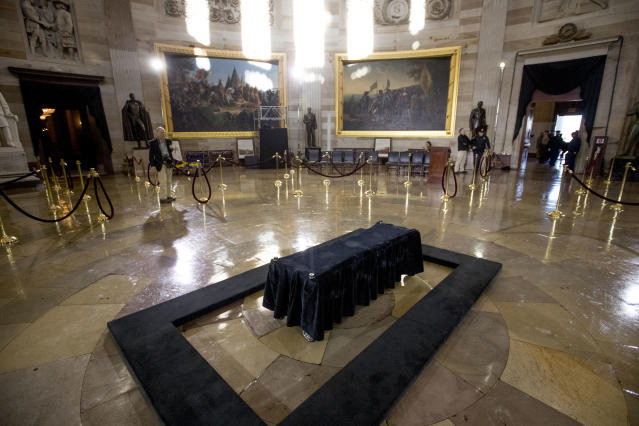 <p>Crews prepare for the late Rev. Billy Graham to be honored Wednesday in the Rotunda of the Capitol Building, Tuesday, Feb. 27, 2018 in Washington. (Photo: Andrew Harnik/AP) </p>