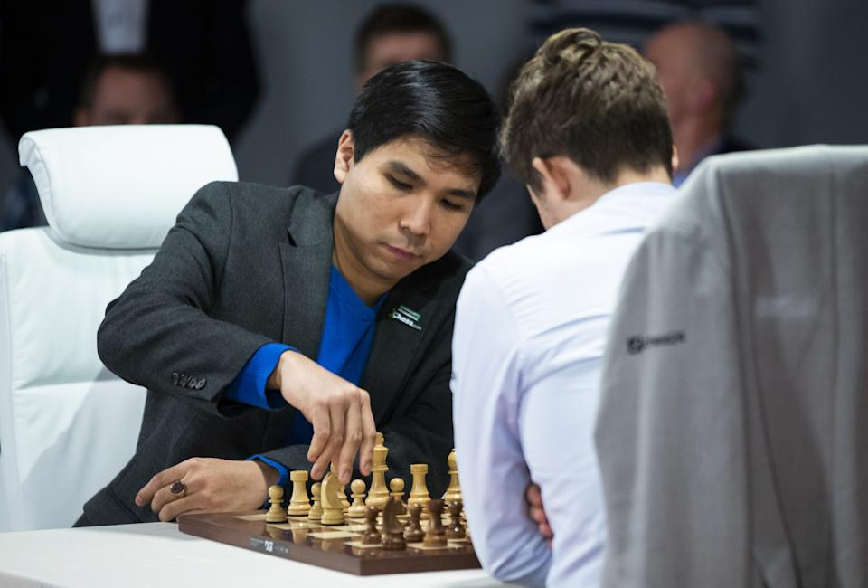 Norwegian chess Grandmaster Magnus Carlsen (R) and Filipino-American chess grandmaster Wesley So play in the World Fischer Random Championship Chess final, at Henie Onstad Art Center in Baerum, Norway, on October 31, 2019. (Photo by Berit Roald / NTB Scanpix / AFP) / Norway OUT (Photo by BERIT ROALD/NTB Scanpix/AFP via Getty Images)
