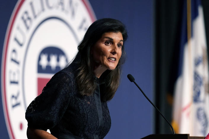 Former Ambassador to the United Nations Nikki Haley speaks during the Iowa Republican Party's Lincoln Dinner, Thursday, June 24, 2021, in West Des Moines, Iowa. (AP Photo/Charlie Neibergall)