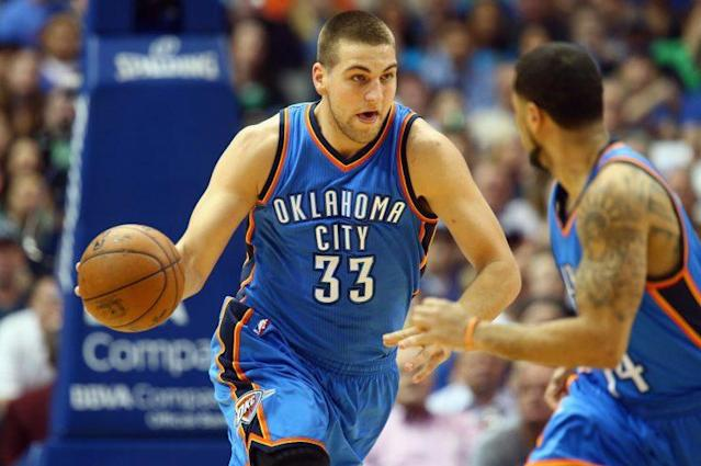 "<a class=""link rapid-noclick-resp"" href=""/nba/players/5332/"" data-ylk=""slk:Mitch McGary"">Mitch McGary</a> has played 52 total games in two seasons with the Thunder. (Getty)"