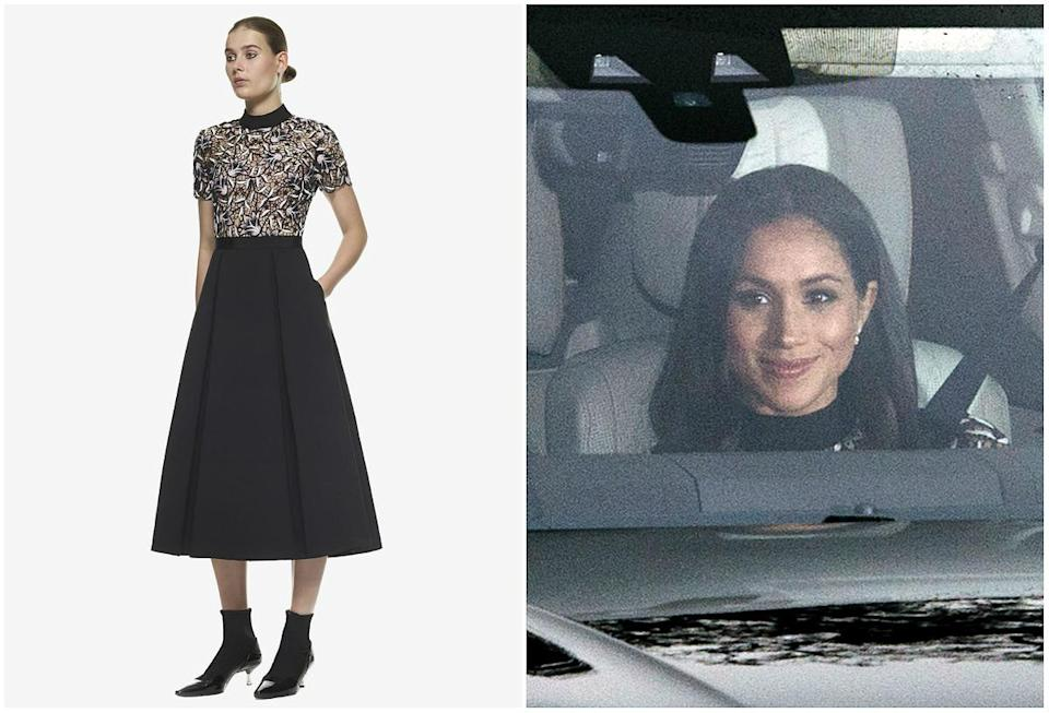 <p><strong>When: Dec. 20, 2017</strong><br>We couldn't get a full shot, but the dress featured short-sleeves, a semi-sheer lacy top and black midi skirt. And yes, it's sold out already! <em>(Photos: Self-Portrait/Getty)</em> </p>
