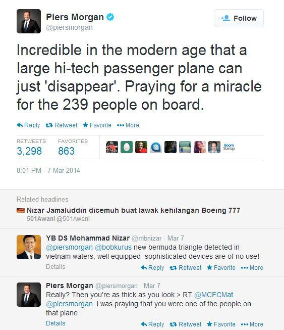 Missing Malaysia Airlines Flight MH370: Politician's Bermuda Triangle Tweet Condemned