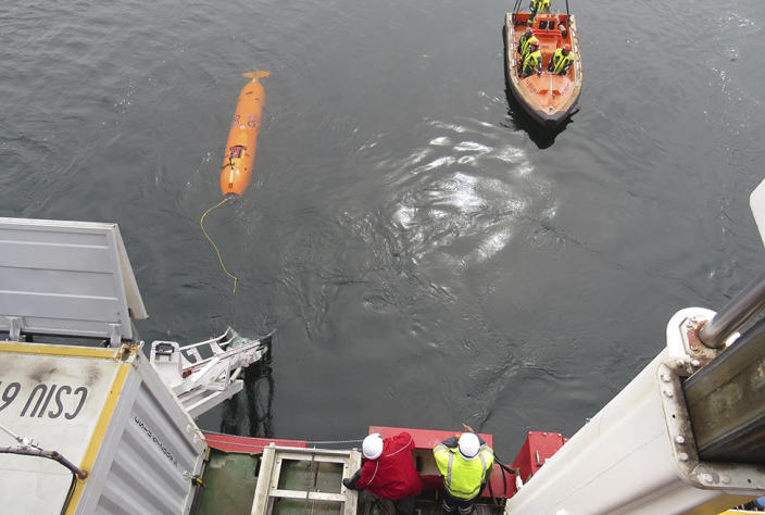 The AUVs flew only 60 meters above sea level in about 500 meters of water