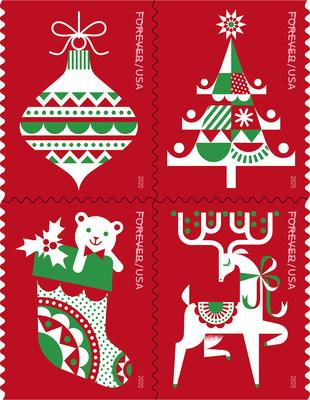 Holiday Delights Stamps, a prancing reindeer with antlers; an ornament tied with a bow and ready to hang; a tree topped with a star; and a stocking holding a teddy bear and a sprig of holly.