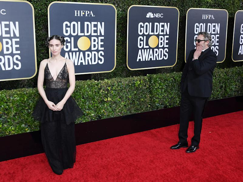 Rooney Mara and Joaquin Phoenix on the 77th annual Golden Globe red carpet.