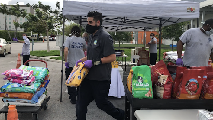Miami-Dade County Animal Services held a Pet Food Bank giveaway on April 17, 2020, distributing more than 11,000 pounds of pet food.