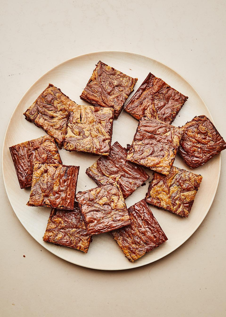 "David Lebovitz's timeless <a href=""http://www.davidlebovitz.com/gluten-free-brownies-recipe-chocolate/"" rel=""nofollow noopener"" target=""_blank"" data-ylk=""slk:gluten-free brownie recipe"" class=""link rapid-noclick-resp"">gluten-free brownie recipe</a> inspired our own GF take on classic fudgy brownies with a modern, sweet tahini swirl. <a href=""https://www.bonappetit.com/recipe/gluten-free-chocolate-tahini-brownies?mbid=synd_yahoo_rss"" rel=""nofollow noopener"" target=""_blank"" data-ylk=""slk:See recipe."" class=""link rapid-noclick-resp"">See recipe.</a>"