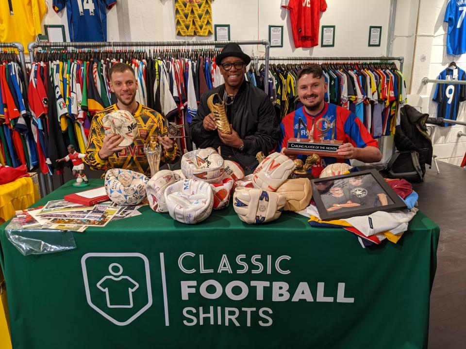 Ian Wright is reunited with football memorabilia from his playing career, with Classic Football Shirts