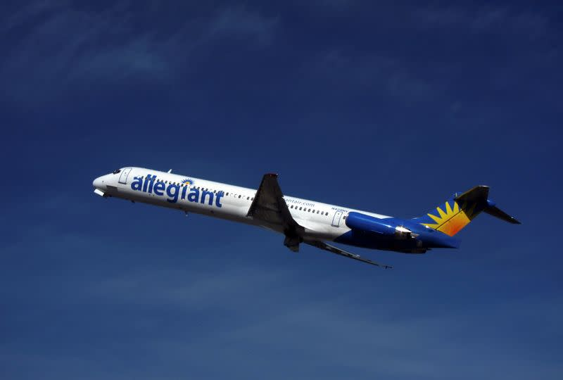 FILE PHOTO: An Allegiant Air MD-83 passenger jet takes off from the Monterey airport