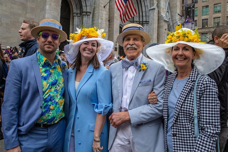 Judy Gilmartin-Willsey, right and her family bring the traditional style as they participate in the Easter Parade and Bonnet Festival, Sunday, April 21, 2019, in New York. (Photo: Gordon Donovan/Yahoo News)