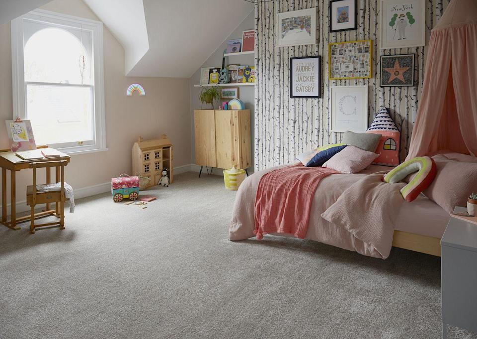 """<p>Designing your daughter's room is about creating a cosy place for her to relax in, but as she gets older, also somewhere for her to do her homework – boo! That's why it's good to create zoned areas like the desk by the window, the cosy corner for the bed, and the bookshelves in the <a href=""""https://www.housebeautiful.com/uk/decorate/a35901813/alcove-ideas/"""" rel=""""nofollow noopener"""" target=""""_blank"""" data-ylk=""""slk:alcove"""" class=""""link rapid-noclick-resp"""">alcove</a>.</p><p>Pictured: Canterbury Extra carpet, <a href=""""https://www.carpetsandmore.co.uk/all-flooring/carpets/man-made/lifestyle-floors-canterbury-extra"""" rel=""""nofollow noopener"""" target=""""_blank"""" data-ylk=""""slk:Lifestyle Floors"""" class=""""link rapid-noclick-resp"""">Lifestyle Floors</a></p>"""