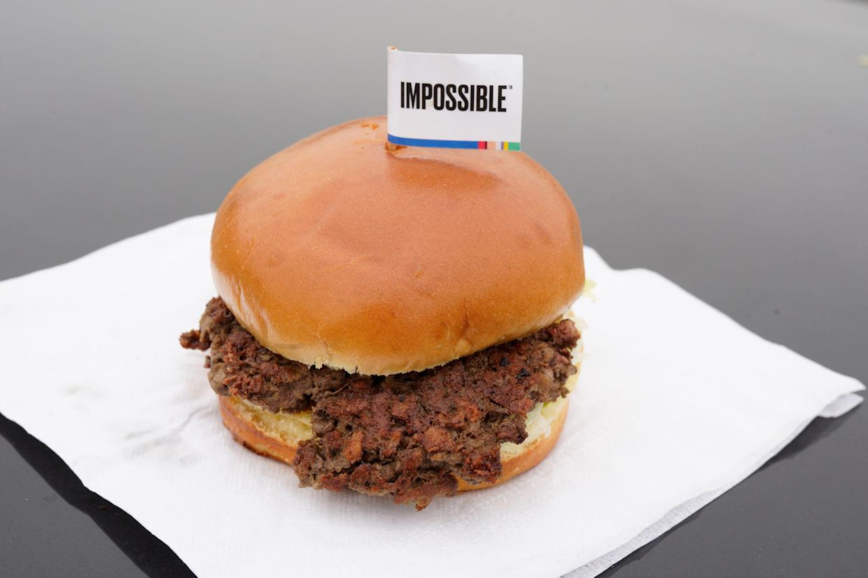 The Impossible Burger, a plant-based burger containing wheat protein, coconut oil and potato protein among it's ingredients. (AP Photo/Nati Harnik, File)
