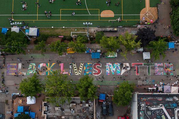 PHOTO: An aerial view of a Black Lives Matter mural on East Pine Street near Cal Anderson Park is seen during ongoing Black Lives Matter events on June 14, 2020 in Seattle. (David Ryder/Getty Images)
