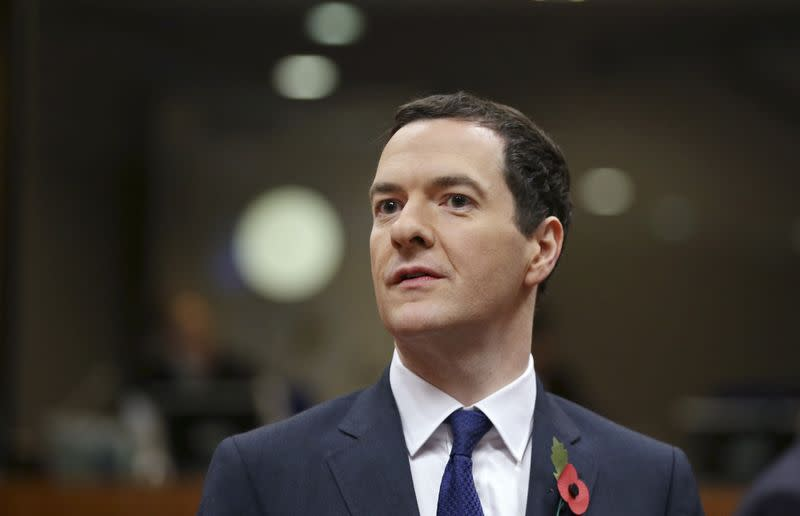 Britain's Chancellor of the Exchequer Osborne attends an EU ministers meeting in Brussels