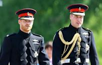 Britain's Prince Harry and Prince William, pictured at Harry's wedding in 2018