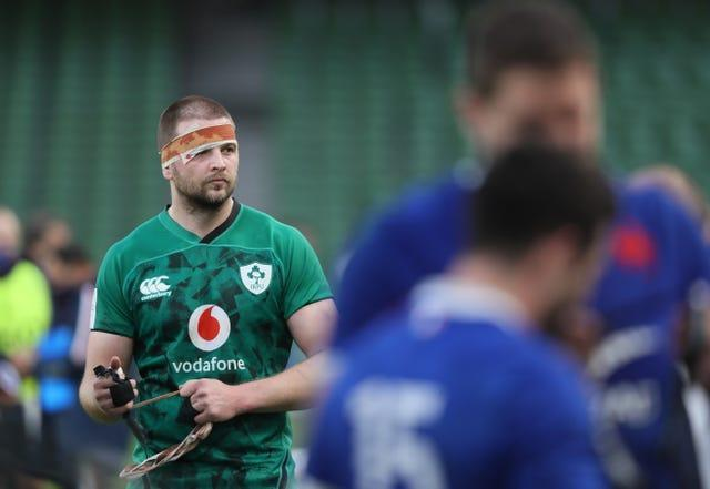 Iain Henderson became the 108th player to captain Ireland but was temporarily forced off by a nasty head injury