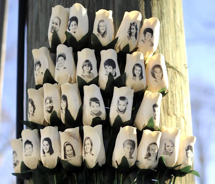 Roses with the faces of the 2012 Sandy Hook Elementary School victims in Newtown, Connecticut on Jan. 3, 2013, shortly after the Dec. 14, 2012 shooting.