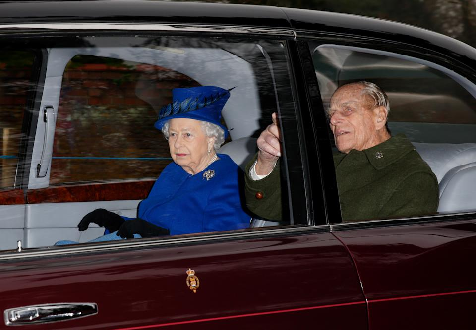 KING'S LYNN, UNITED KINGDOM - JANUARY 08: (EMBARGOED FOR PUBLICATION IN UK NEWSPAPERS UNTIL 48 HOURS AFTER CREATE DATE AND TIME) Queen Elizabeth II and Prince Philip, Duke of Edinburgh depart after attending the Sunday service at St Mary Magdalene Church, Sandringham on January 8, 2017 in King's Lynn, England. The Queen missed services on Christmas Day and New Year's Day after suffering a heavy cold. (Photo by Max Mumby/Indigo/Getty Images)