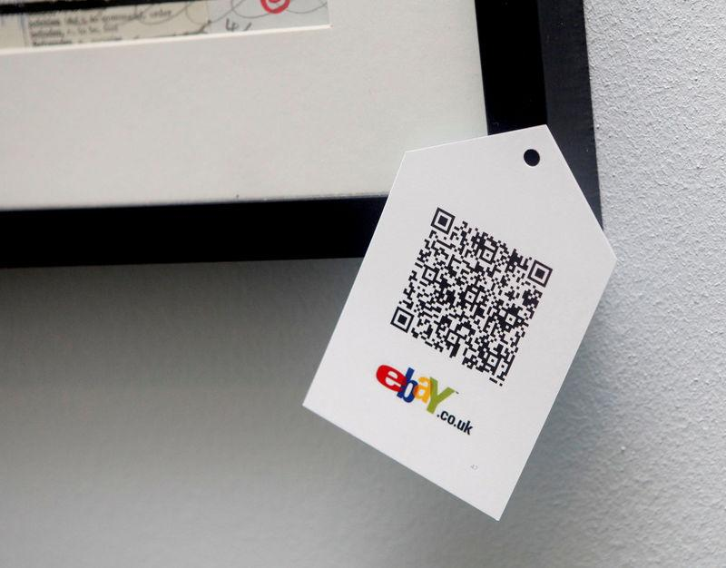 """FILE PHOTO: A QR code is seen on goods for sale during the launch of a temporary """"pop-up"""" Christmas shop run by online giant eBay on Dean Street in Soho, central London"""