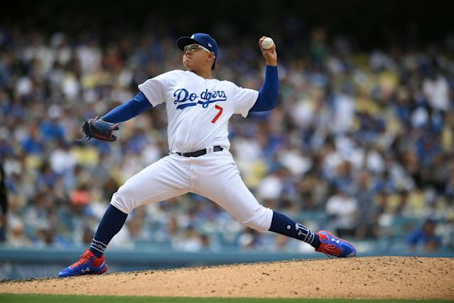 "<a class=""link rapid-noclick-resp"" href=""/mlb/teams/la-dodgers/"" data-ylk=""slk:Dodgers"">Dodgers</a> pitcher <a class=""link rapid-noclick-resp"" href=""/mlb/players/9585/"" data-ylk=""slk:Julio Urias"">Julio Urias</a> has reportedly been arrested on a domestic violence charge. (Photo by John McCoy/Getty Images)"