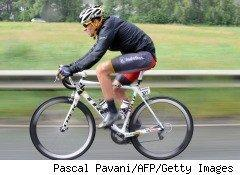 champion cyclist Lance Armstrong, riding for Team Radio Shack